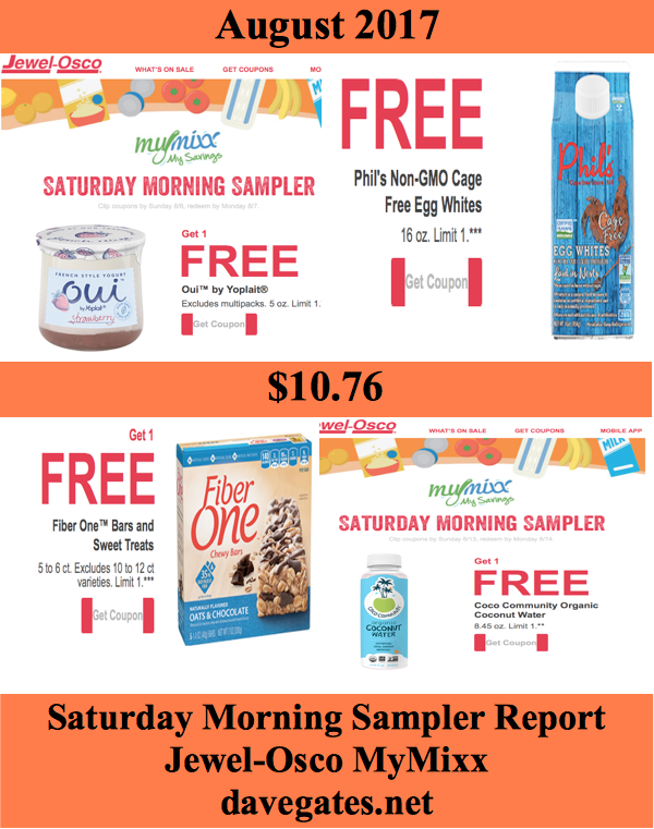 Jewel-Osco Saturday Morning Sampler Savings Report – August 2017 #08