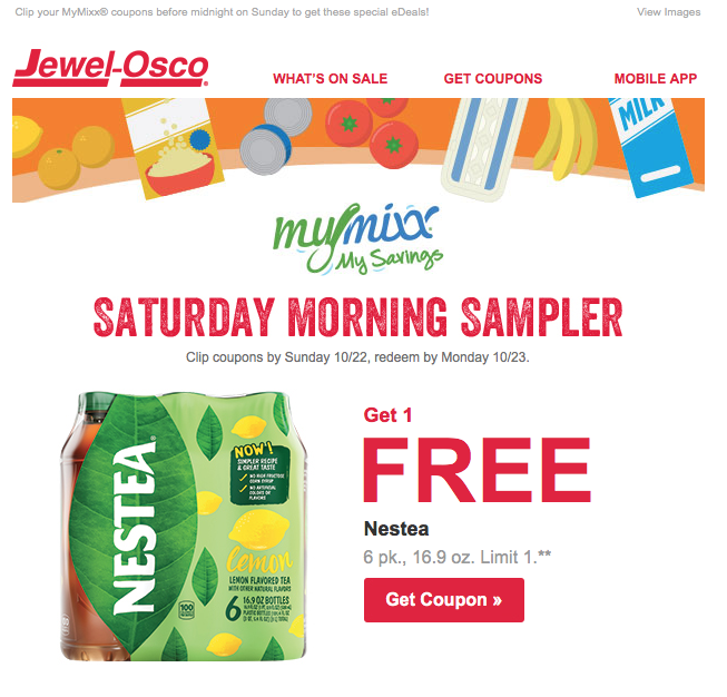 Jewel-Osco MyMixx Saturday Morning Sampler email 10-21-2017
